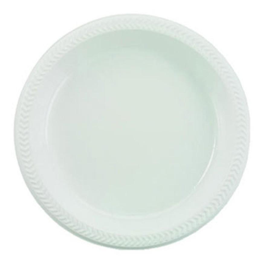 PLASTIC PLATES PLASTIC PLATES - Plastic Plates, 9 Inches, White, Round, 125/PackBoardwalk  Hi-Impact