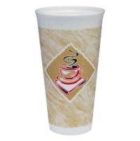 FOAM CUPS FOAM CUPS - Foam Hot/Cold Cups, 20 oz., Caf  G Design, White/Brown with Red AccentsDart  C
