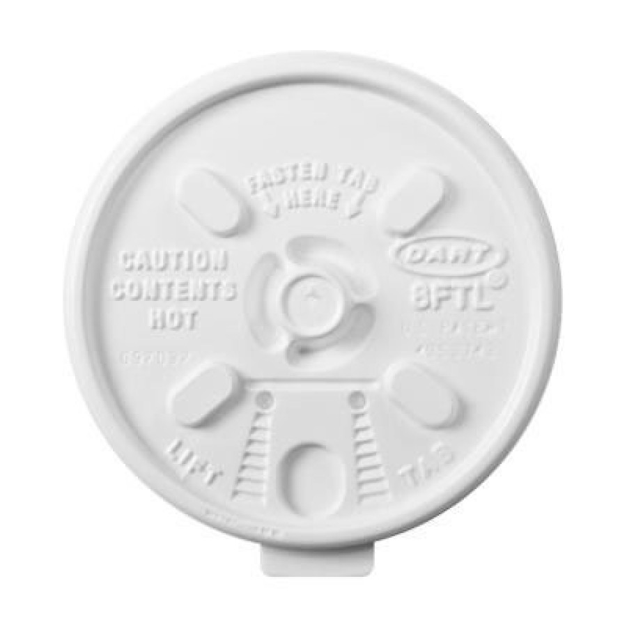 FOAM CUP LIDS FOAM CUP LIDS - Lift n' Lock Plastic Hot Cup Lids, Fits 6-10oz Cups, WhitePlastic Lift