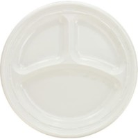 PLASTIC PLATES PLASTIC PLATES - Plastic Plates, 9 Inches, White, 3 Compartments, Round, 125/PackDart
