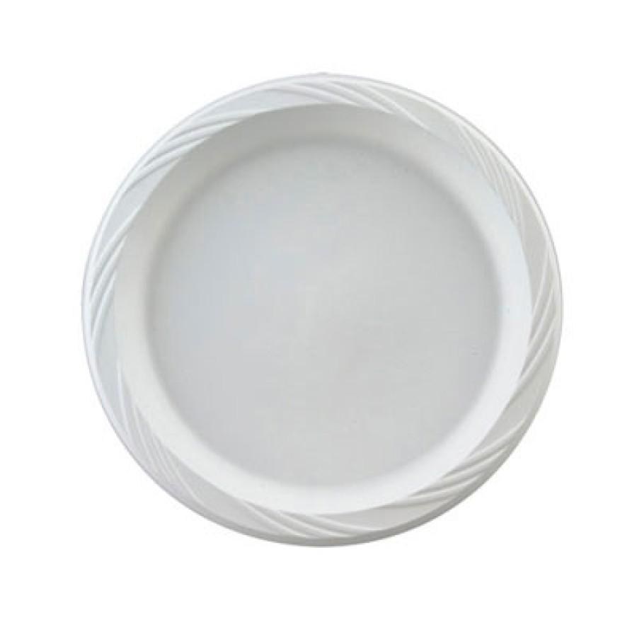 PLASTIC PLATES PLASTIC PLATES - Plastic Plates, 6 Inches, White, Round, Lightweight, 10/PackChinet