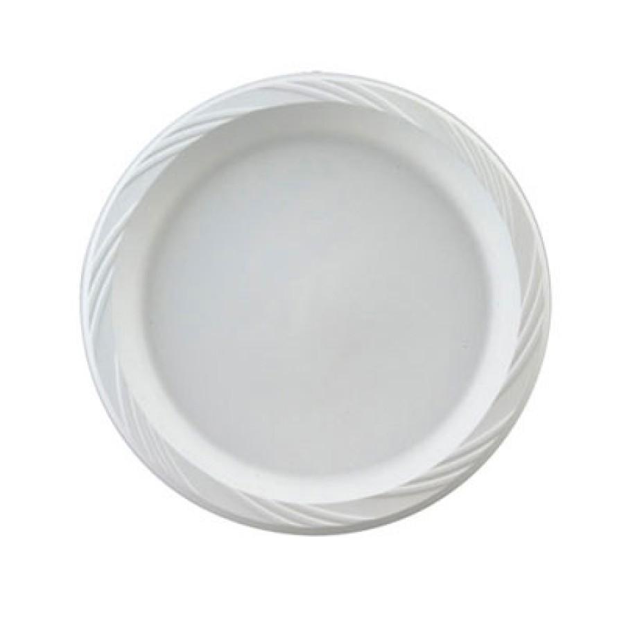 PLASTIC PLATES PLASTIC PLATES - Plastic Plates, 10 1/4 Inches, White, Round, Lightweight, 125/PackCh