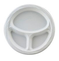 PLASTIC PLATES PLASTIC PLATES - Plastic Plates, 10 1/4 in., White, Round, 3 Compartments, Lightweigh