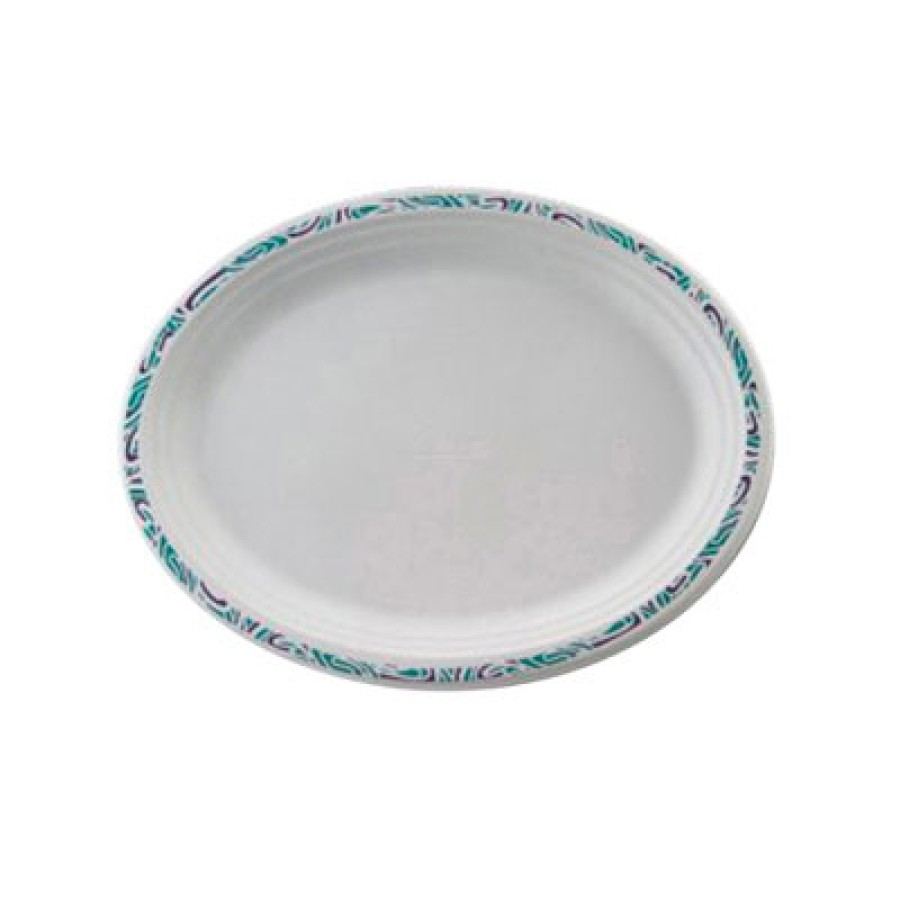 PAPER PLATES PAPER PLATES - Classic Paper Platters, 9 3/4 x 12 1/2, White with Festival Rim, Oval, 1