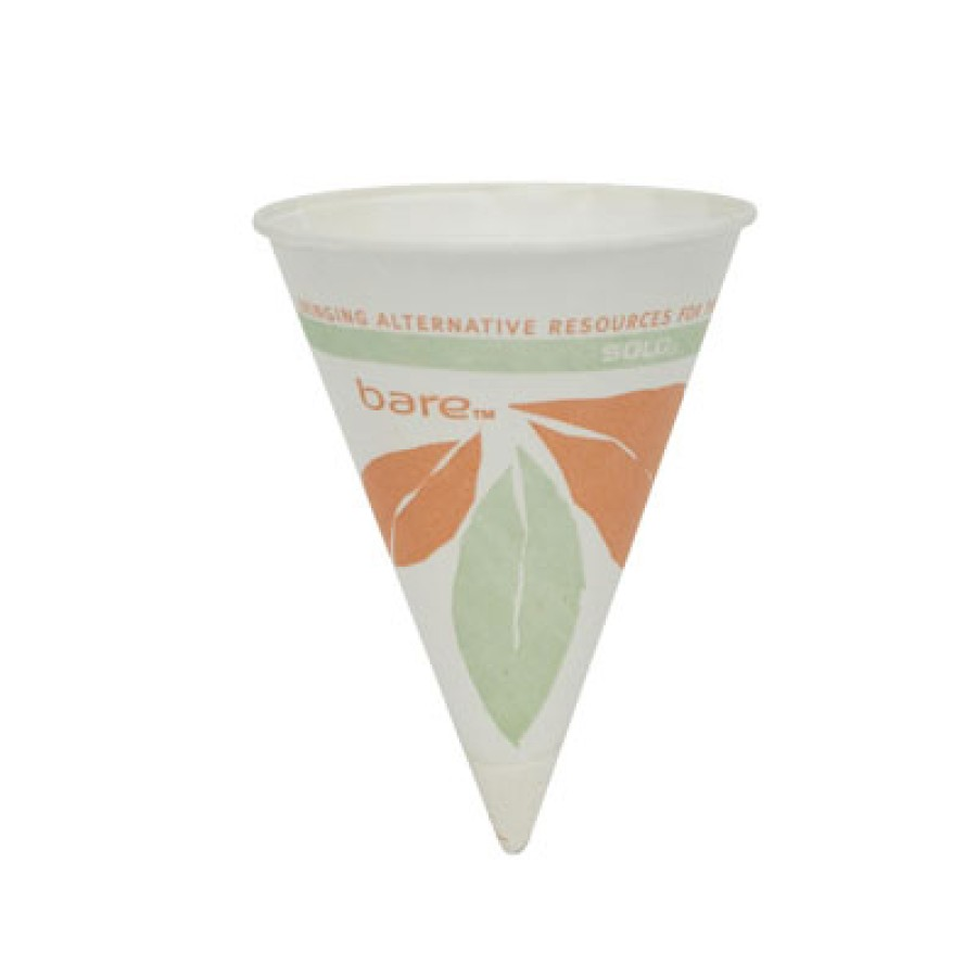 PAPER CUPS PAPER CUPS - Bare Treated Paper Cone Water Cups, 4 1/4 oz., White, 200/BagSOLO  Cup Compa