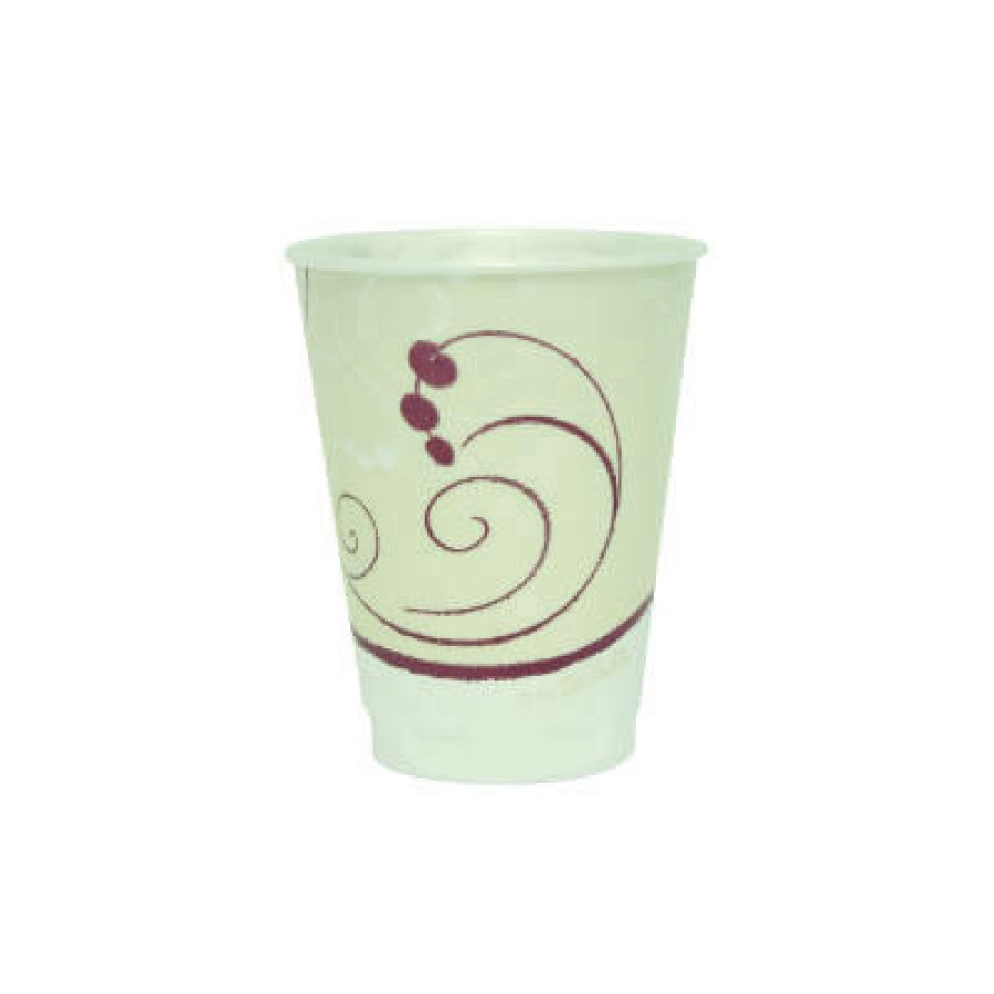 FOAM CUPS FOAM CUPS - Trophy Insulated Thin-Wall Foam Cups, 12 oz, Hot/Cold, Symphony, Beige/White/R