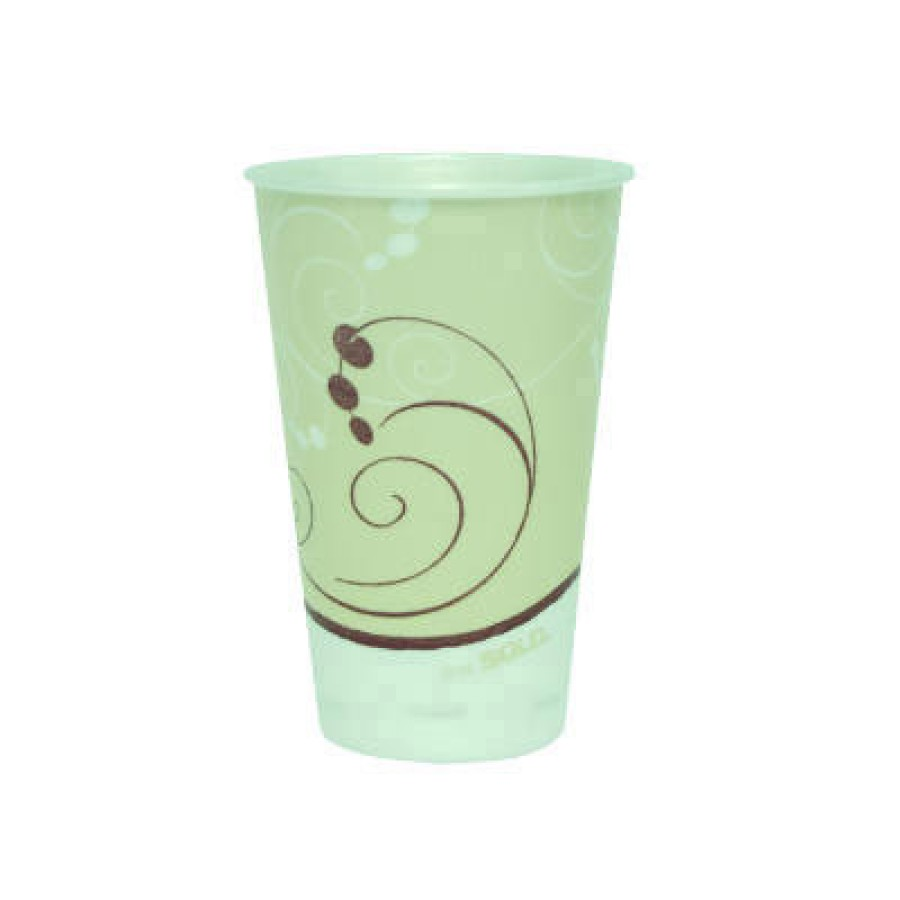 FOAM CUPS FOAM CUPS - Trophy Insulated Thin-Wall Foam Cups, 16 oz, Hot/Cold, Symphony, Beige/White/R