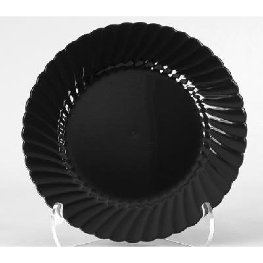 PLASTIC PLATES PLASTIC PLATES - Classicware Plastic Plates, 7 1/2 Inches, Black, Round, 10/PackWNA C