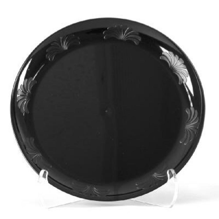 PLASTIC PLATES PLASTIC PLATES - Designerware Plastic Plates, 9 Inches, Black, Round, 10/PackWNA Desi