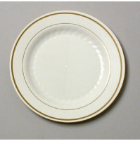PLASTIC PLATES PLASTIC PLATES - Masterpiece Plastic Plates, 7 1/2 in, Ivory w/Gold Accents, Round, 1