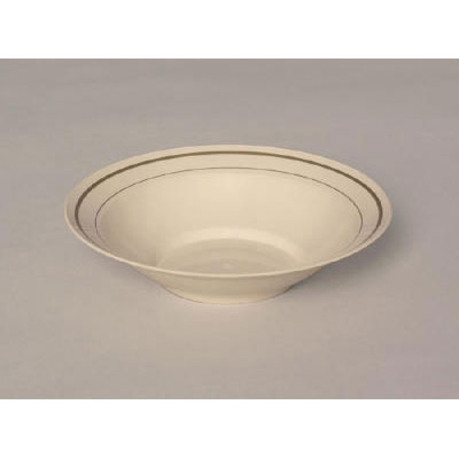 PLASTIC BOWLS PLASTIC BOWLS - Masterpiece Plastic Bowls, 10 oz., Ivory w/ Gold Accents, Round, 10/Pa