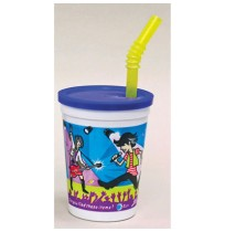 KIDS PLASTIC CUPS KIDS PLASTIC CUPS - Plastic Kids' Cups with Lids and Whistle Straws, 12 oz., Rock