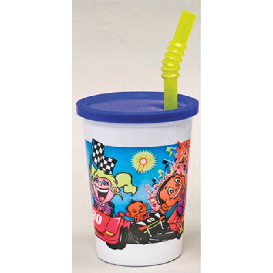 KIDS PLASTIC CUPS KIDS PLASTIC CUPS - Plastic Kids' Cups with Lids and Straws, 12 oz., Race Car Desi