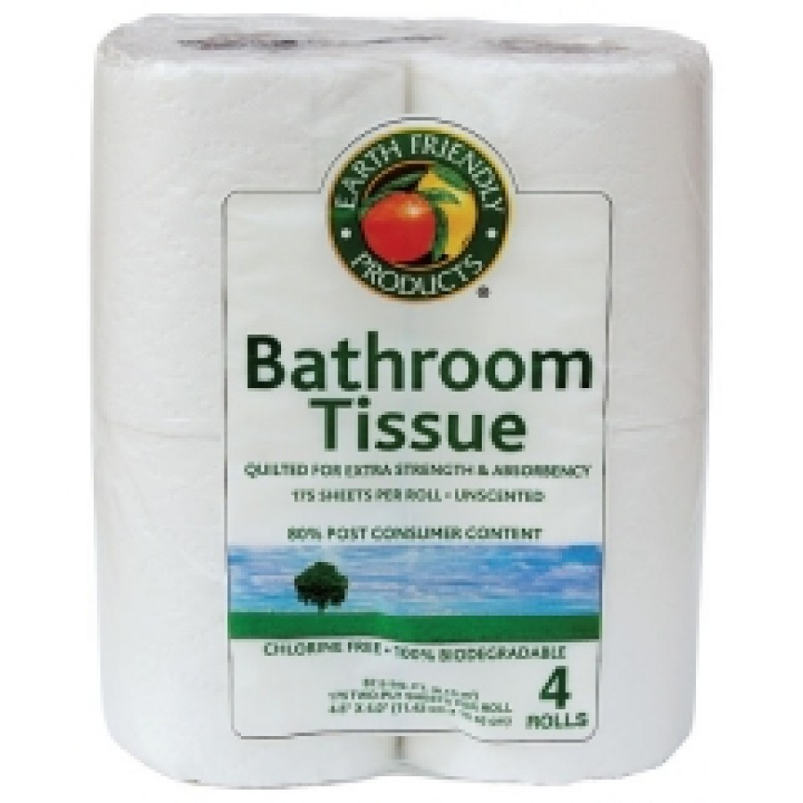 Bathroom Tissue- 100% Recycled Paper- 80% Post Consume Content   4 pack- 175/2 ply per roll - (24/Case)